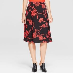 NWT Who What Wear Black Red Pattern Midi Skirt 14